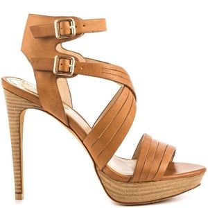 Vince Camuto Ankle Strap Leather Heel Sandals